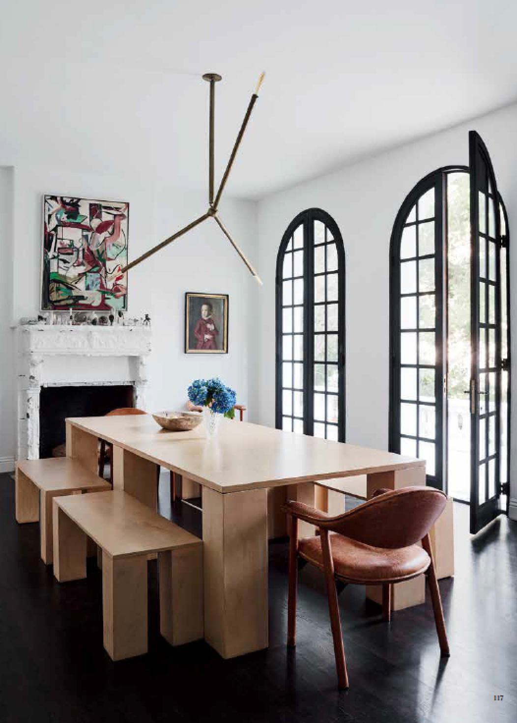 Modern Dining Table And Benches In A Mediterranean Style Room House Tour On Coco Kelley