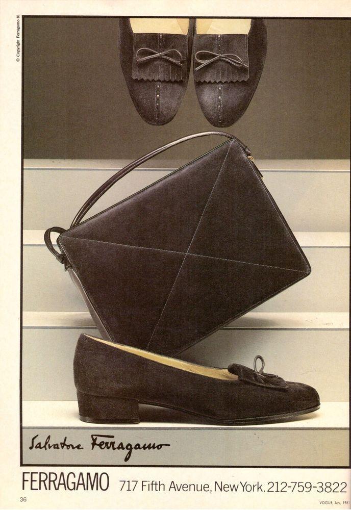 ceb62c21e8b 1981 Salvatore Ferragamo Shoes Fashion Print Ad Advertisement Vintage VTG  80s
