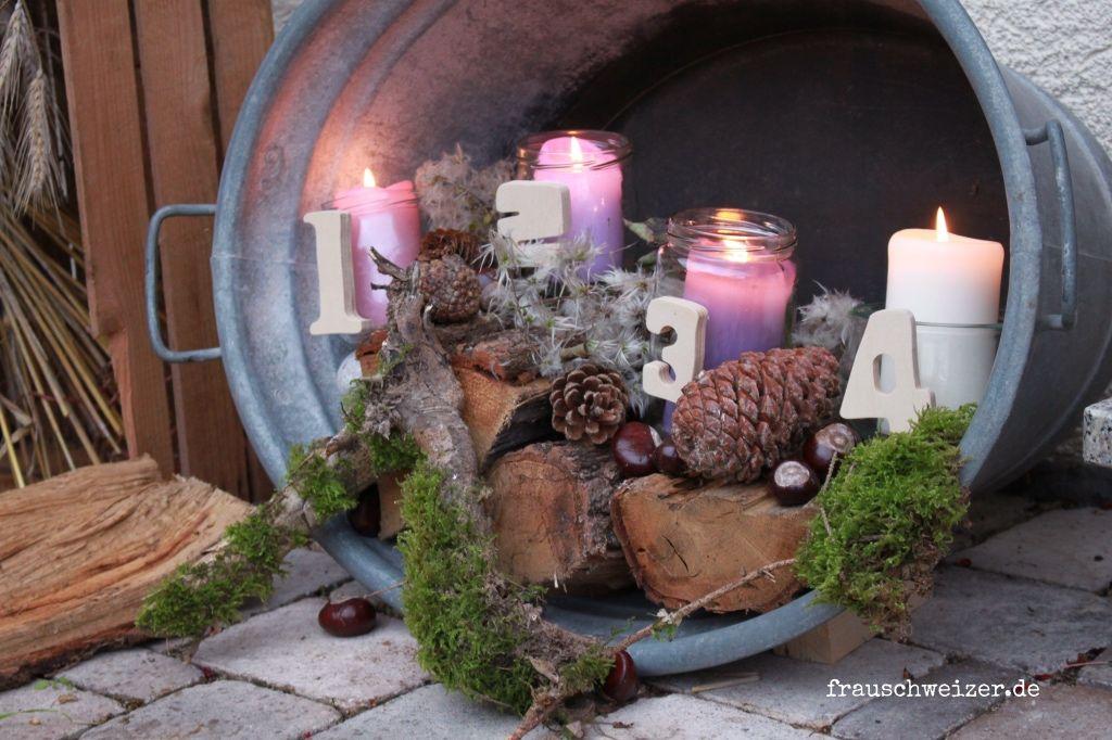 Einen Outdoor Adventskranz selbermachen- sieht toll aus! #hausdekoeingangsbereichaussen