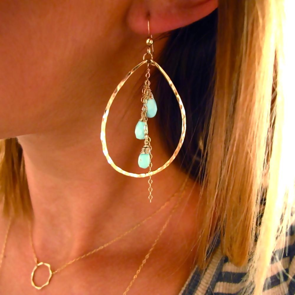 Turquoise Color Pop Hoops - Turquoise and Handmade 14K Gold Filled Hoop Earrings. $75.00, via Etsy.