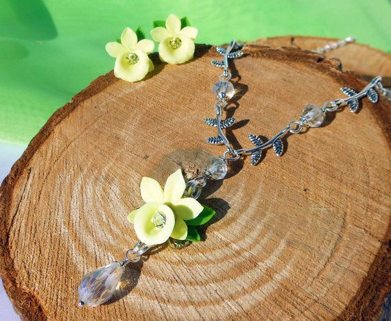 Necklace clay flowers Vanilla Orchid Stud Earrings Floral jewelry set rhinestones Jewelry Orchid Necklace polymer clay flowers  Floral set