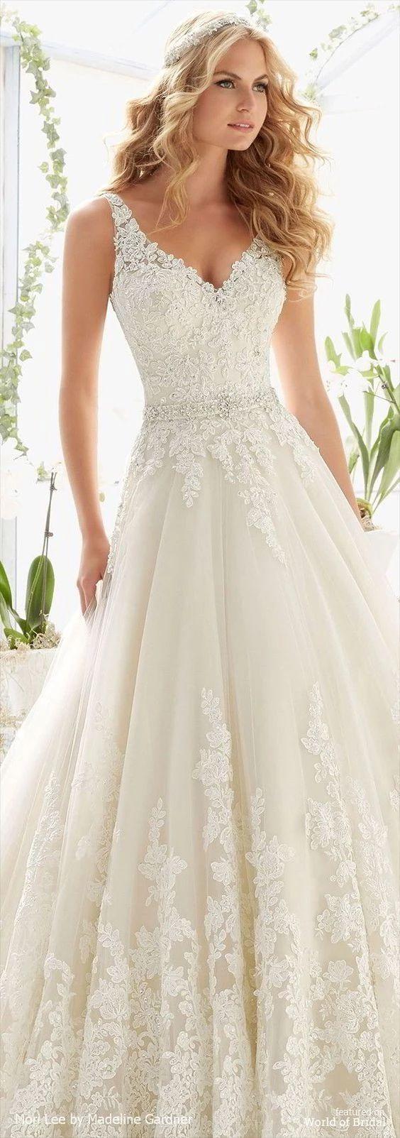 Photo of elegant v neck wedding dress,v back bride dress,wedding dress with applique