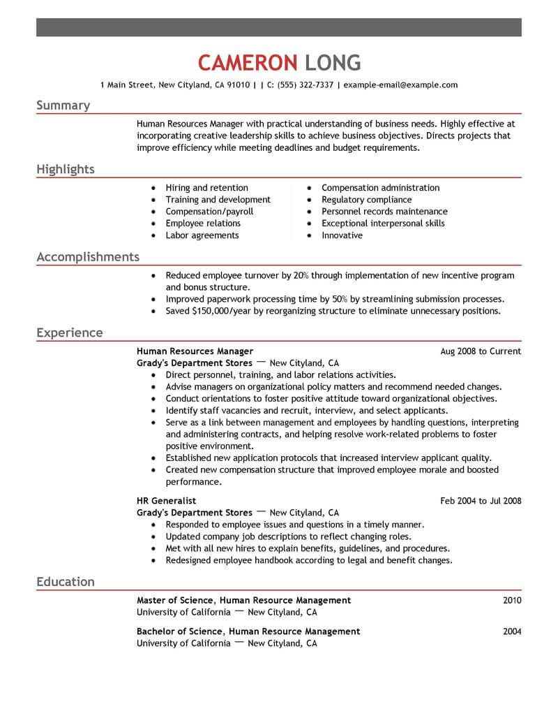 Resume Resources Examples Resume Examples Human Resources  Pinterest  Resume Examples