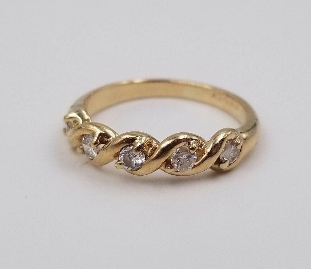 Genuine Diamond 10 Karat Yellow Gold Band Ring Size 5 Ev Jewelry Design Ev Band Gold Band Ring Gold Bands Jewelry