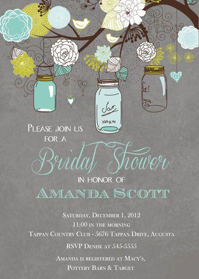 mason jar bridal shower invitation teal and grey mason jar