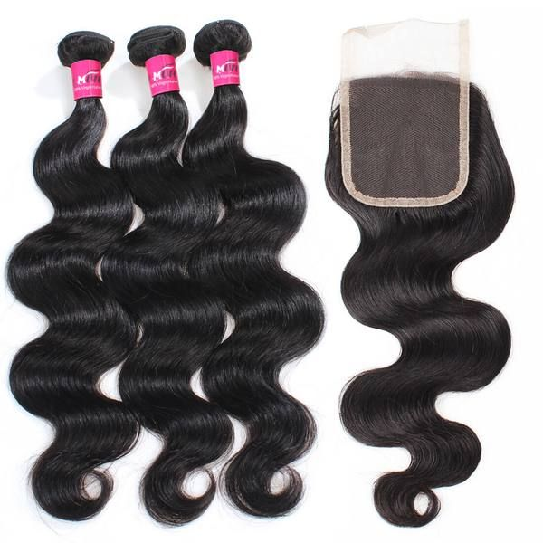 Indian Body Wave Hair 3 Bundles With 4x4 Lace Closure Body Wave