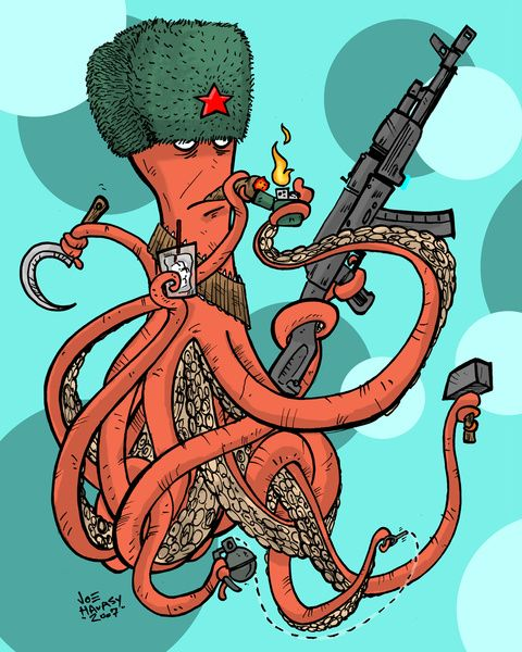 Russian Spy Octopus Art Print by Joe Havasy | Society6