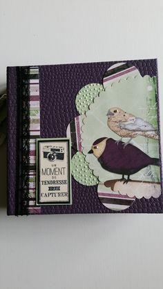 Un mini-album réalisé avec les papiers Bobunny, une couverture en skyvertex. Pour les papiers unis prune parfaite et riche raisin de chez SU. Un joli mariage de couleurs pour cette album qui contient 15 photos. A bientôt.