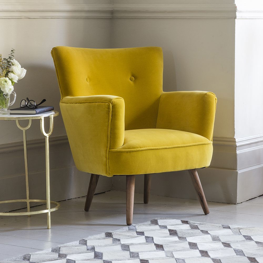 Archie armchair in mustard yellow velvet leather chairs