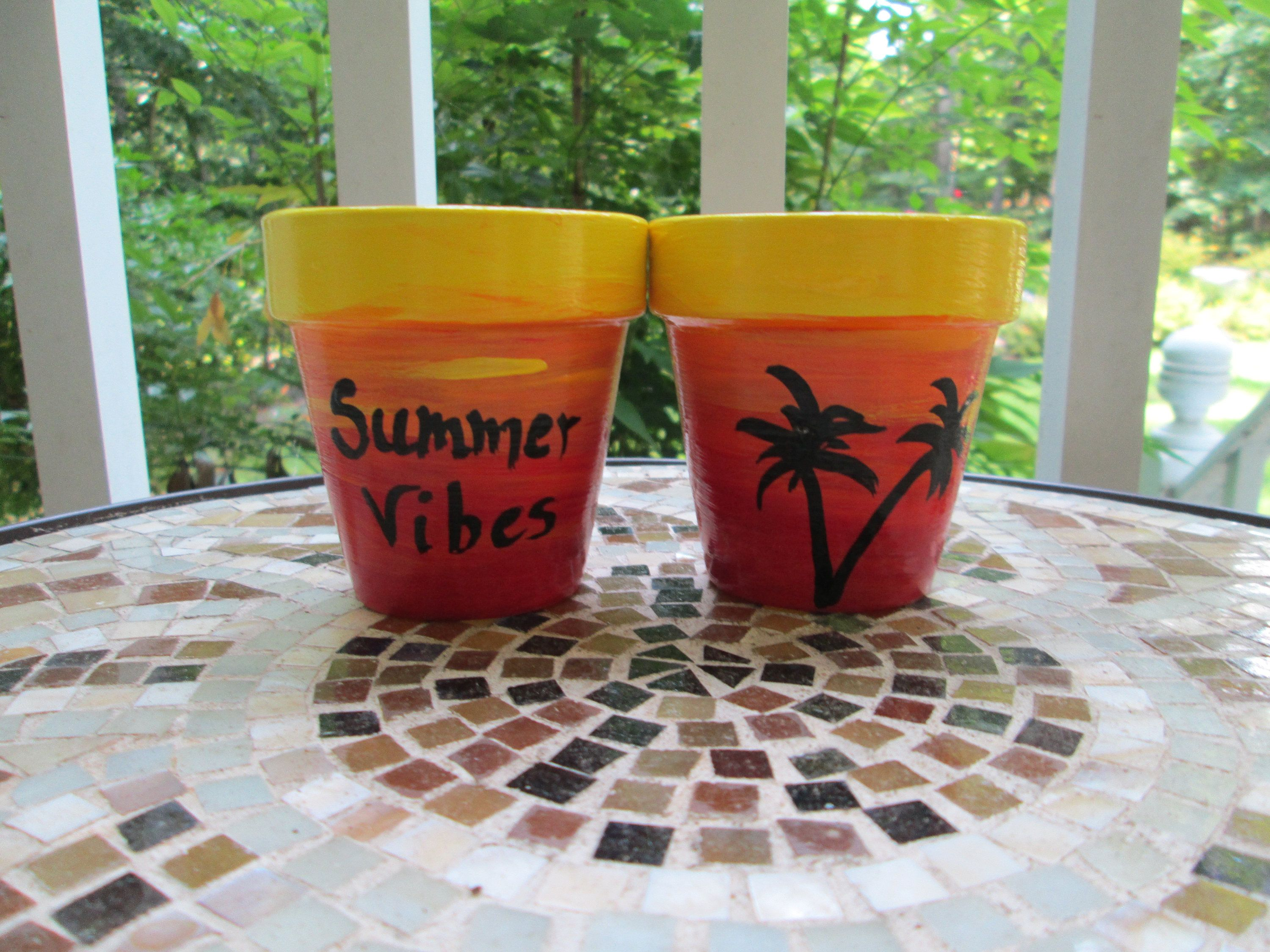 Summer Vibes Mini Clay Pots Set Of 2 Hand Painted 2 Inch Clay Pots By Povyart On Etsy Clay Pots Painted Clay Pots Pot Sets