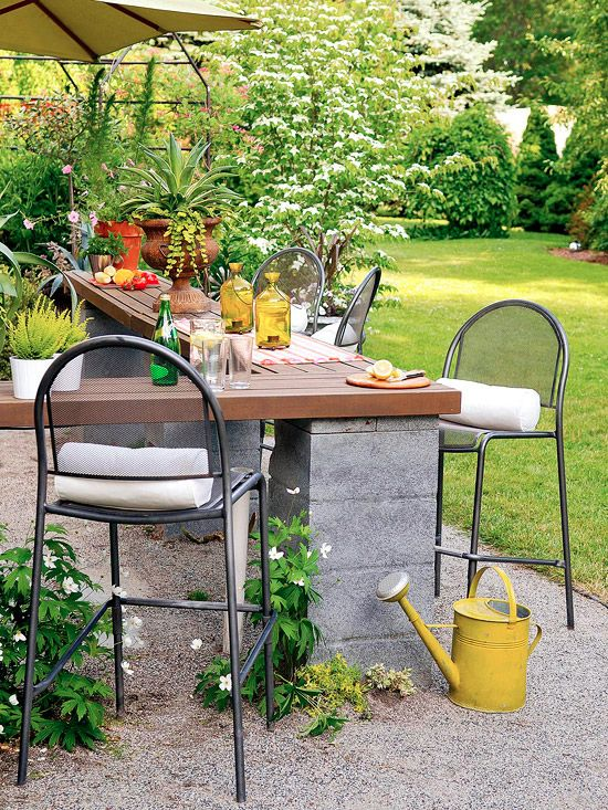 As soon as I spotted this outdoor entertaining space, I loved the DIY-able idea for an outdoor bar. You could use any type of cinderblock base and any pressure-treated wood that will withstand the elements. Grab a few colorful accessories, invite your friends over, serve some drinks and enjoy the arrival of fall! Here are [...]