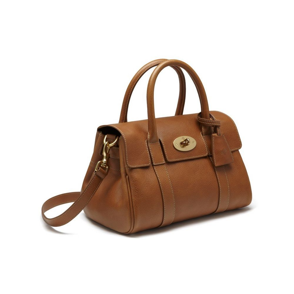 Small Bayswater Satchel in Oak Natural Leather With Brass  a47ee5f4510fa