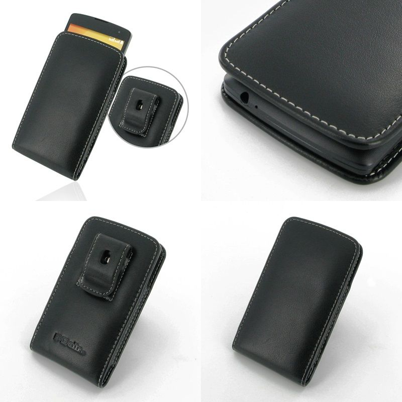 Pdair leather case for lg l fino dual d295f vertical