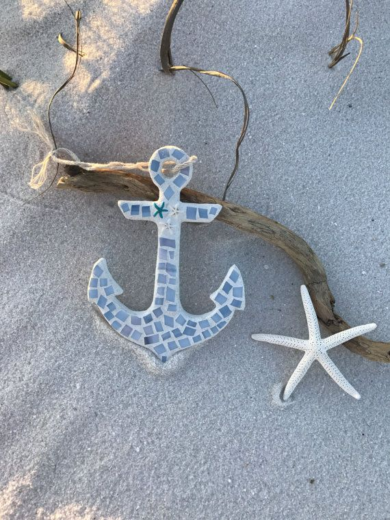Stained Glass Mosaic Anchor Nautical Anchor by BlueOceanGlass