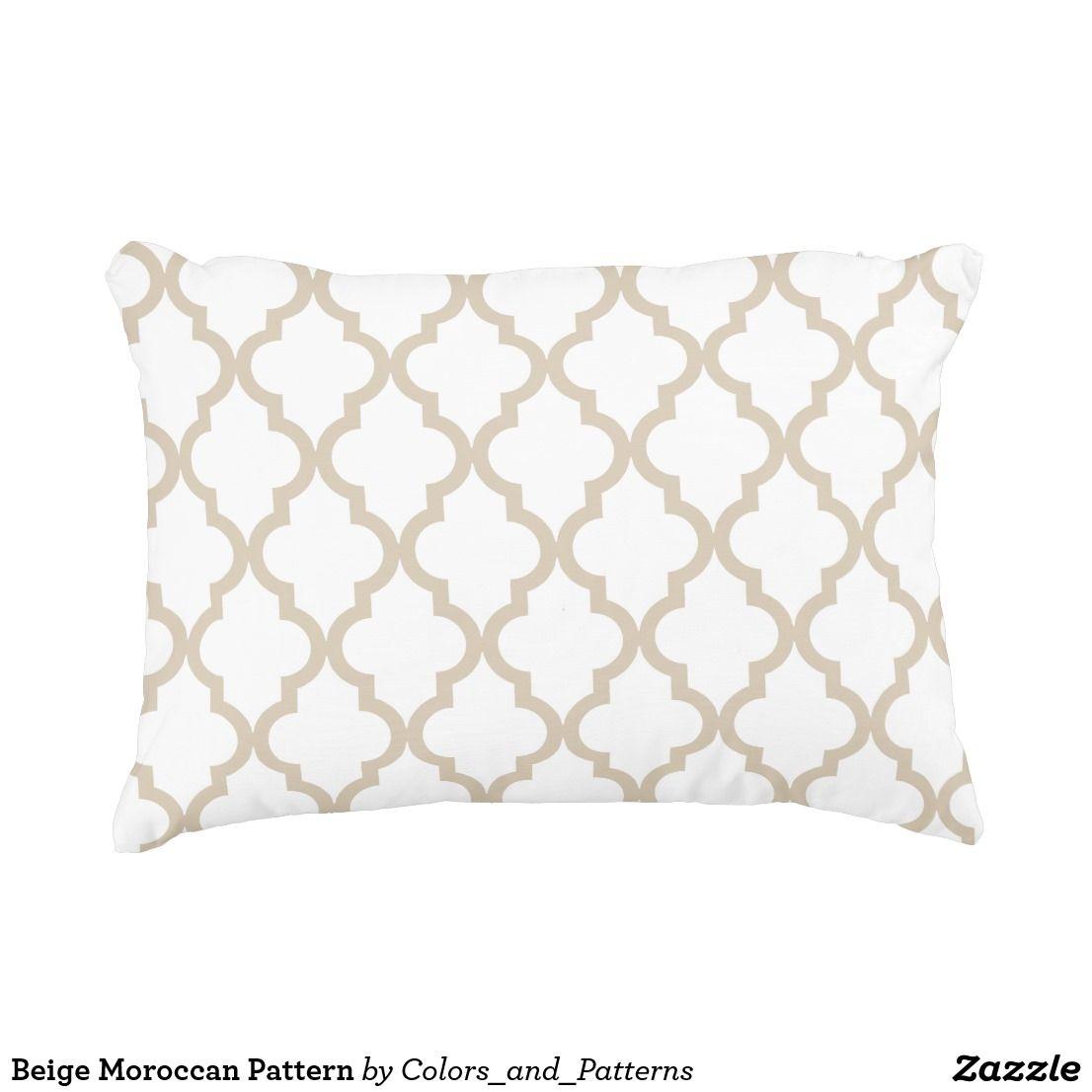Beige Moroccan Pattern Accent Pillow Beige Pillows Decorative