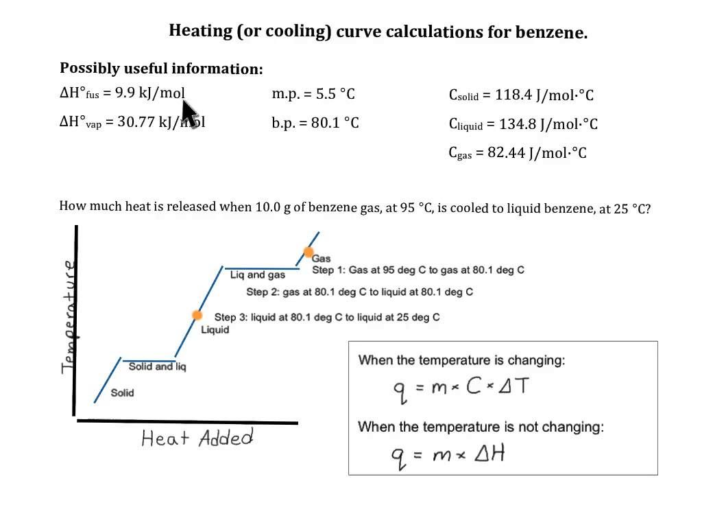 Heating Curve Calculation Benzene Worksheets Heat Answers