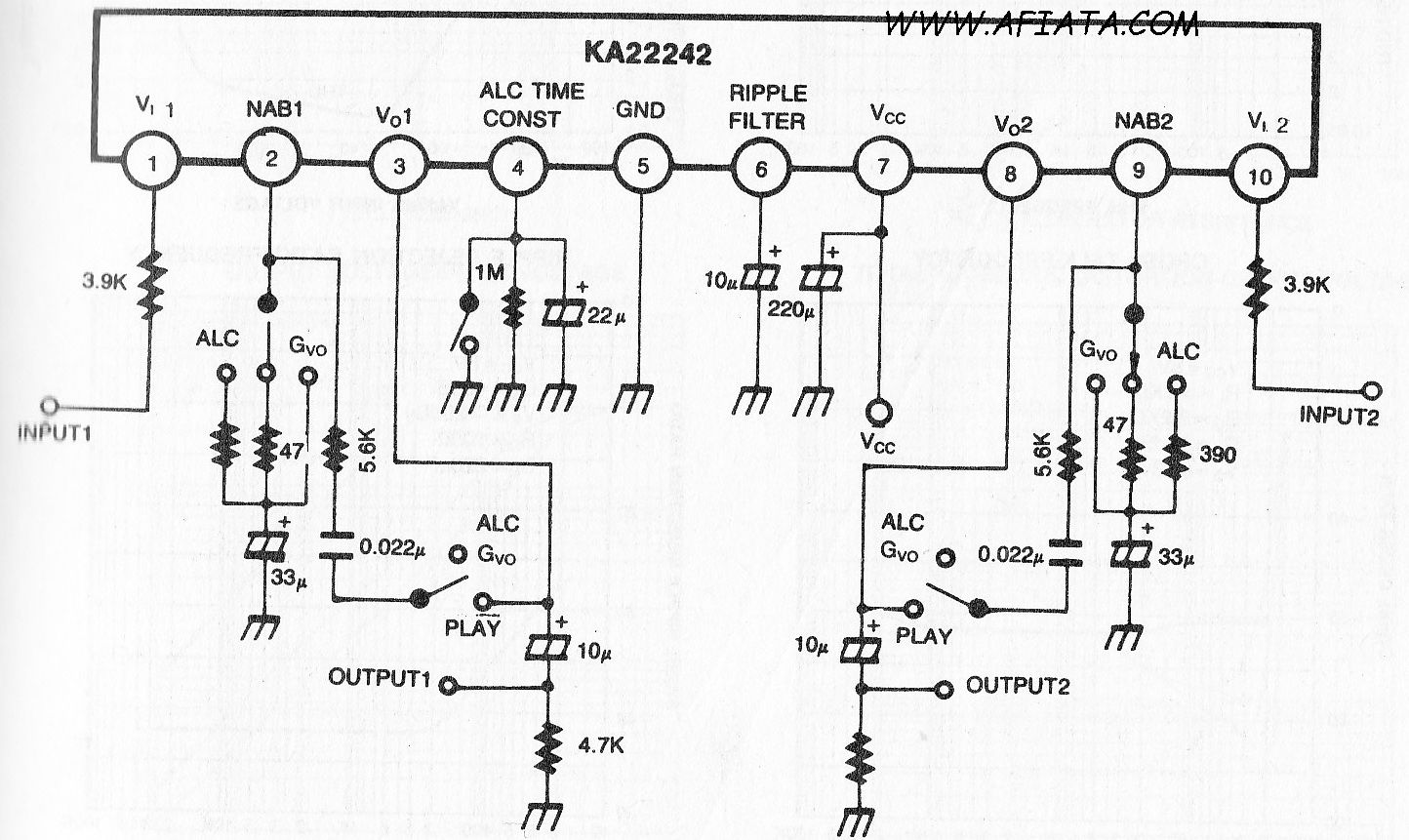 booster audio mixer circuit diagram using ka22242