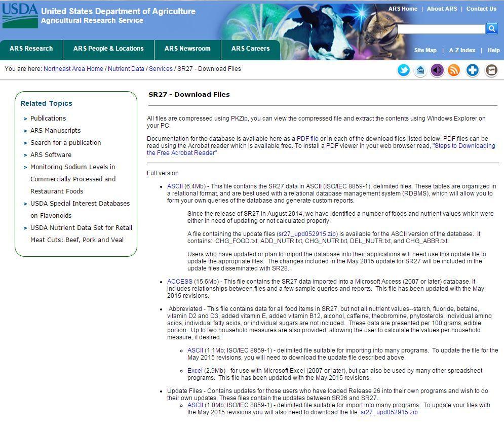 sr27 usda standard reference 27 nutrient database food