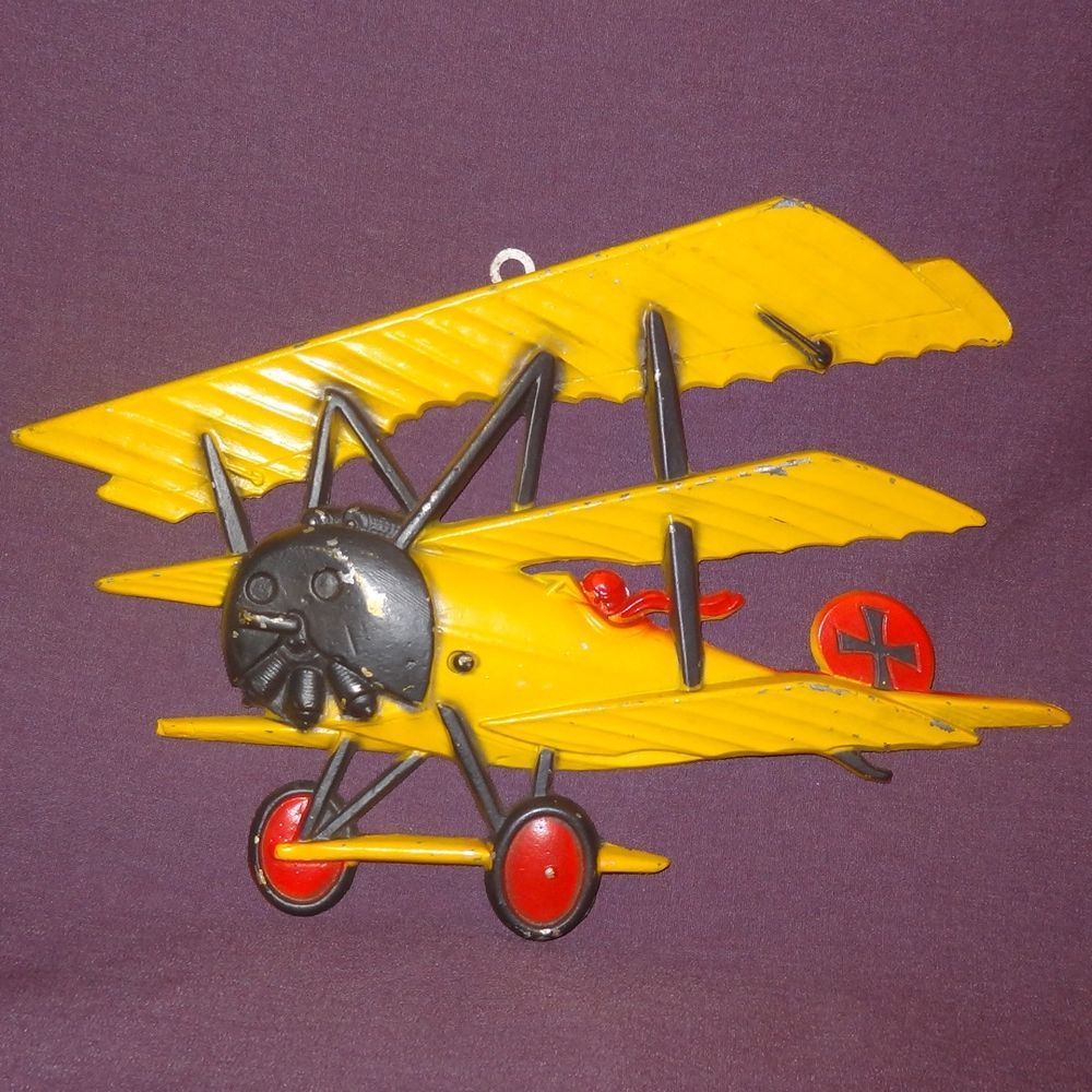 Vtg 1975 Homco Die Cast Metal WWI Bi-Plane Model Airplane Decor Wall ...