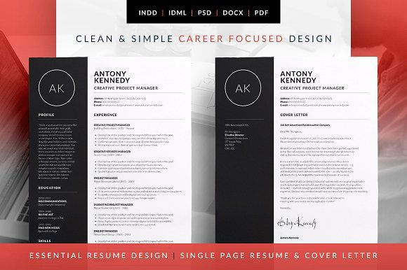 Essential Resume - Antony by bilmaw creative on @creativemarket - single page resume template