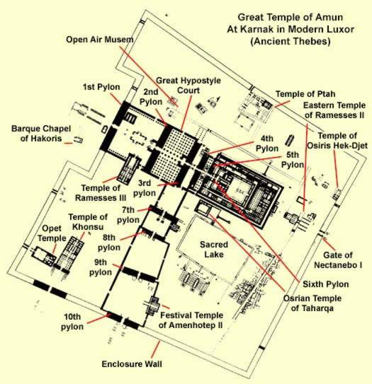 A map of the great temple of Amun at Karnak in Modern Luxor Ancient
