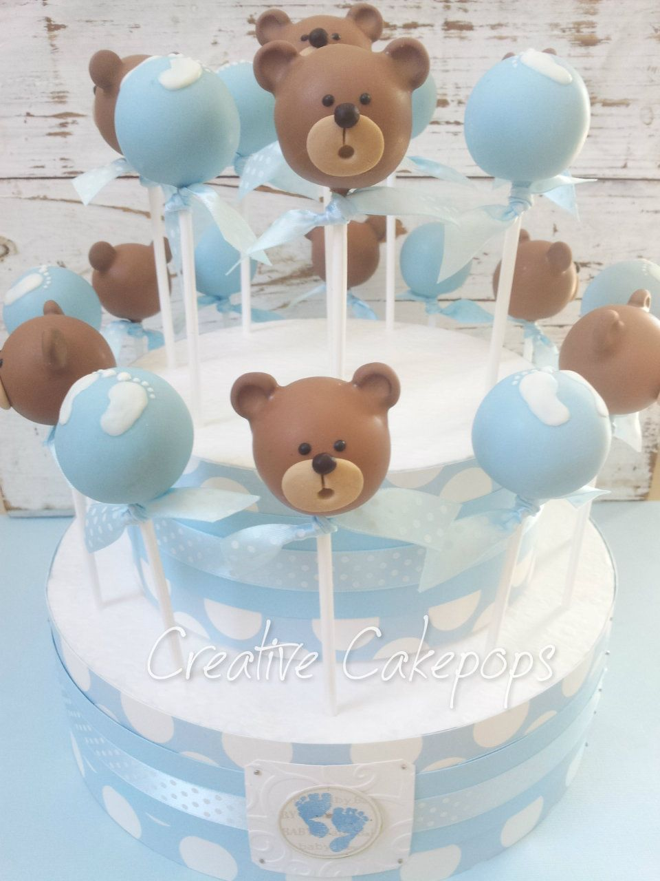 Babyparty Junge Teddy Bear And Baby Feet Cake Pops For Baby Shower