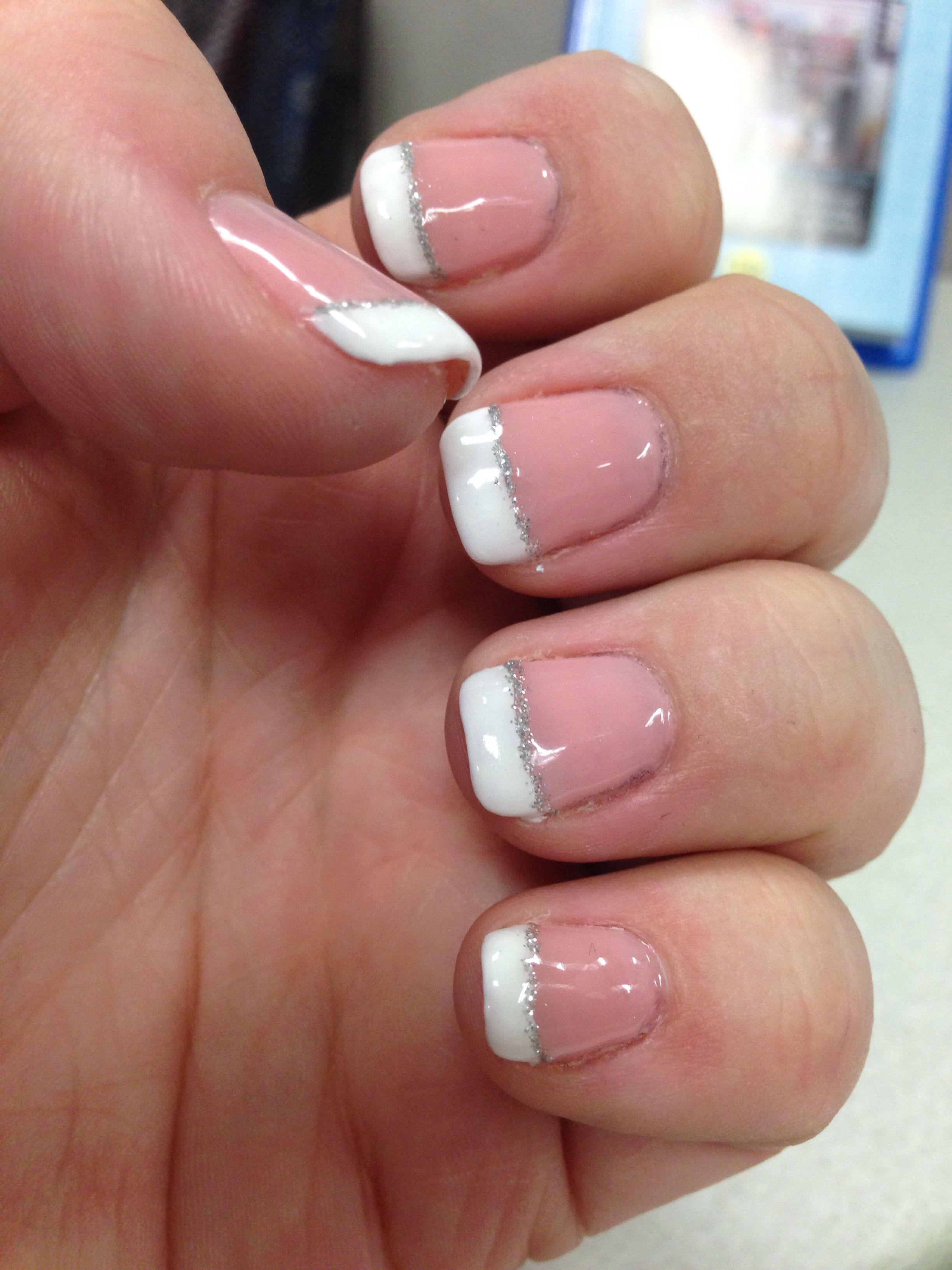 Pretty nails! #76 nude with French tips and silver line | Nails ...