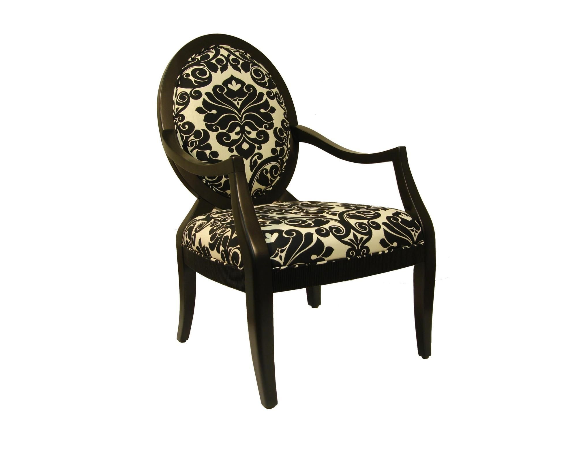 Royal Manufacturing Black Frame Chair with Cream Background and Large Black Baroque Pattern Chair $269.00