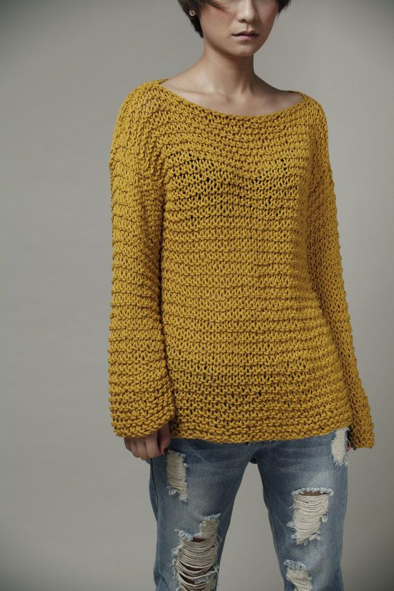 140e92972 Simple is the best - Hand knit Woman Sweater Eco Cotton Oversized ...