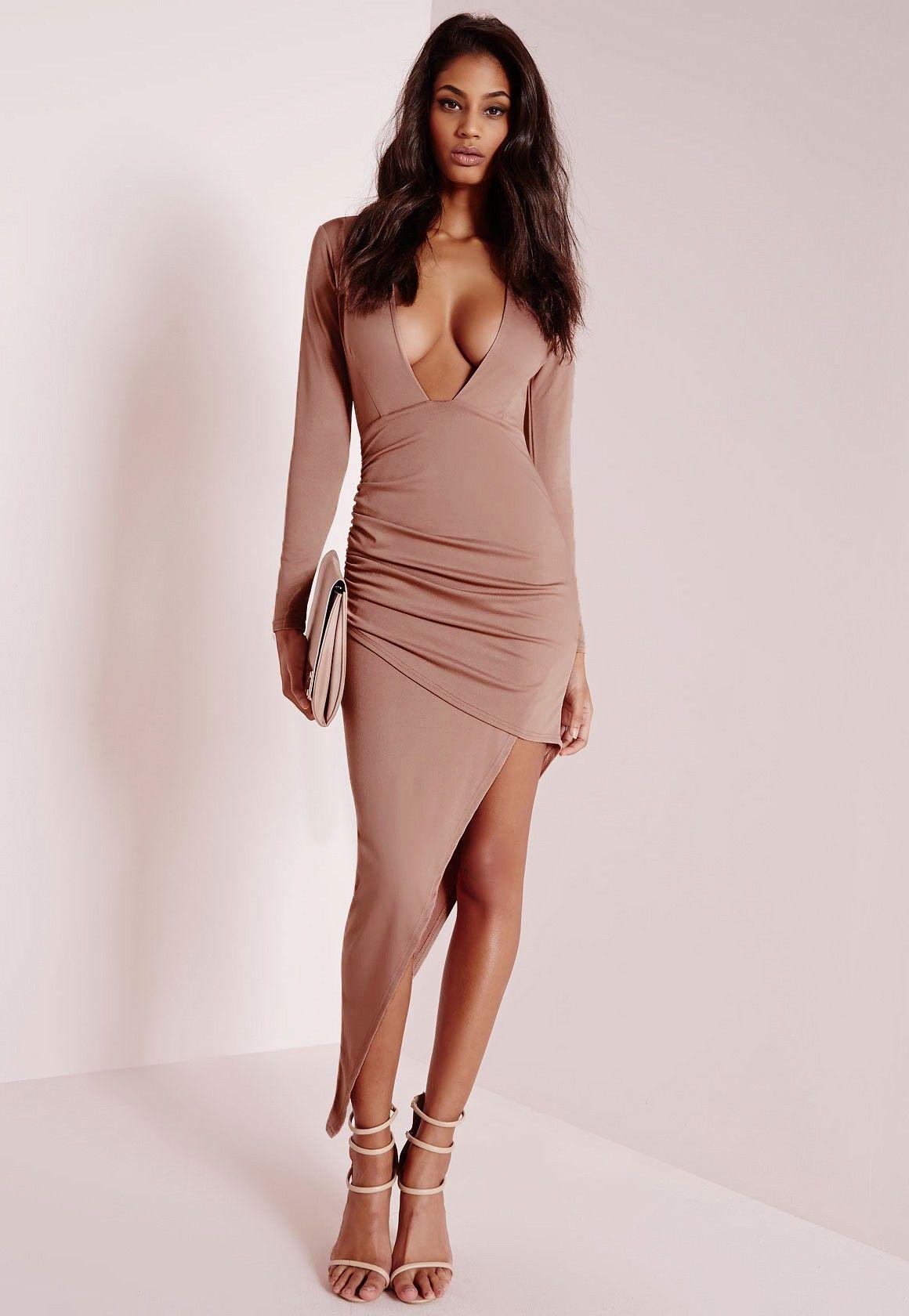 Missguided Long Sleeve Plunge Asymmetric Hem Bodycon Dress Rose Pink Dresses Bodycon Dress Gorgeous Dresses [ 1680 x 1160 Pixel ]