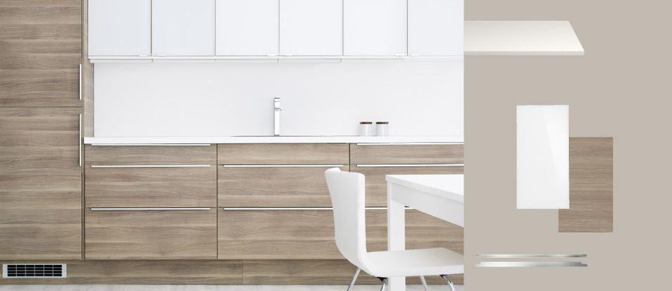 FAKTUM cuisine avec SOFIELUND portes/tiroirs motif noyer gris clair