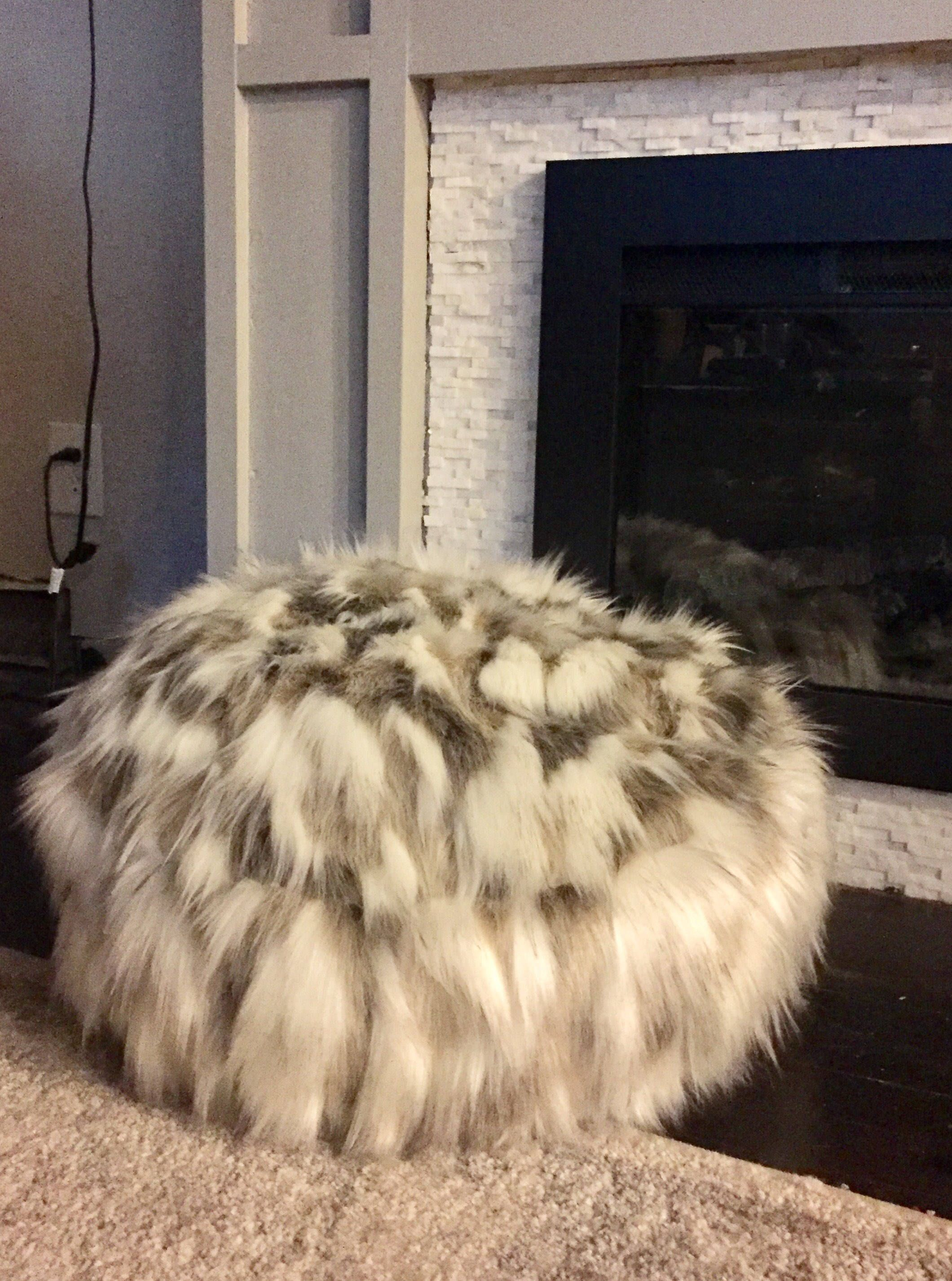 faux fur pouf floor pillow ottoman