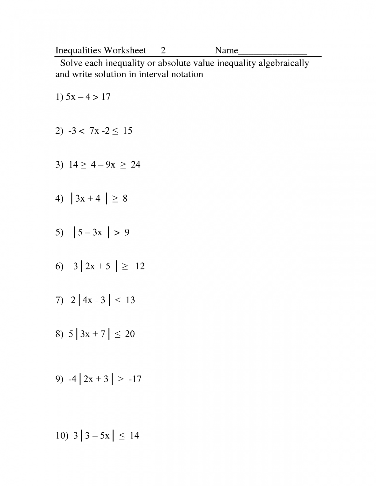 Free Absolute Value Worksheets Pictures