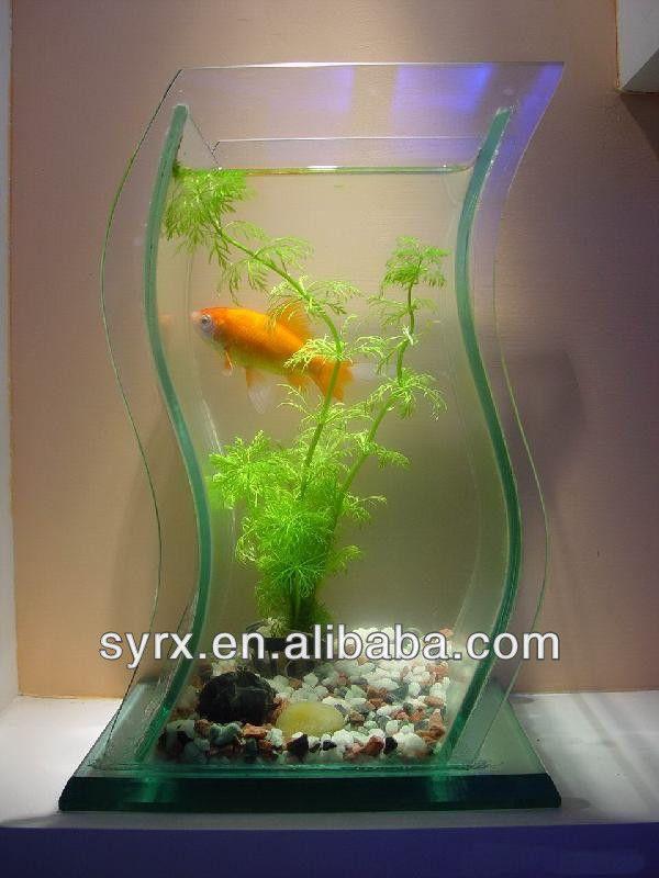 2017 Whole Mini Aquarium Office Desk Small Fish Tank Acrylic White Goldfish Bowl Lamp Submersible Pump