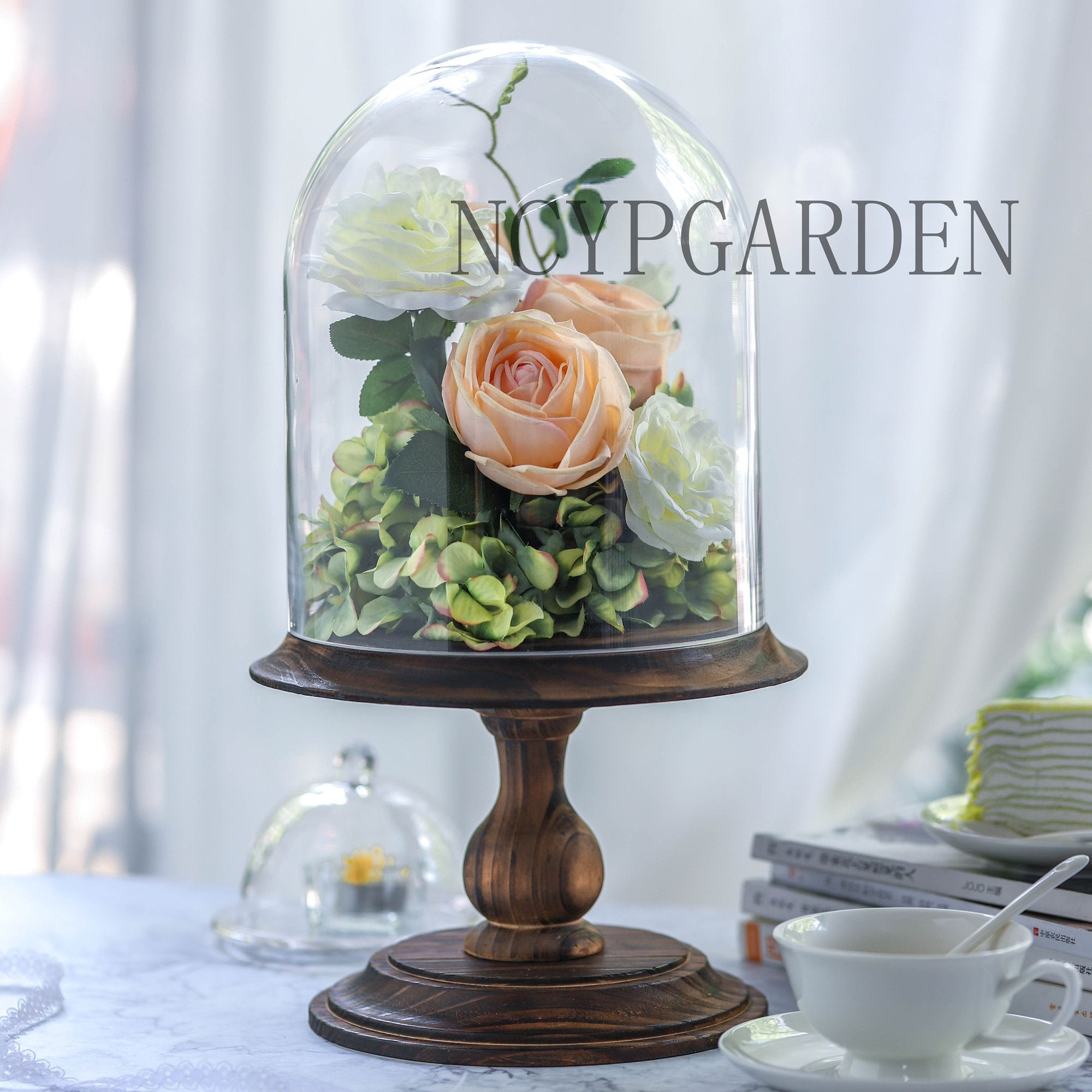 Glass Dome With Wood Base Large Pedestal Clear Cloche Bell