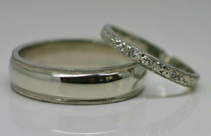 Milgrain Edged Wedding Rings Handmade In Recycled Platinum Men S Ring Features Edging