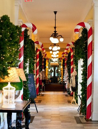 Cape May Christmas 2019 Candy cane hallway at Congress Hall Winter Wonderland in Cape May