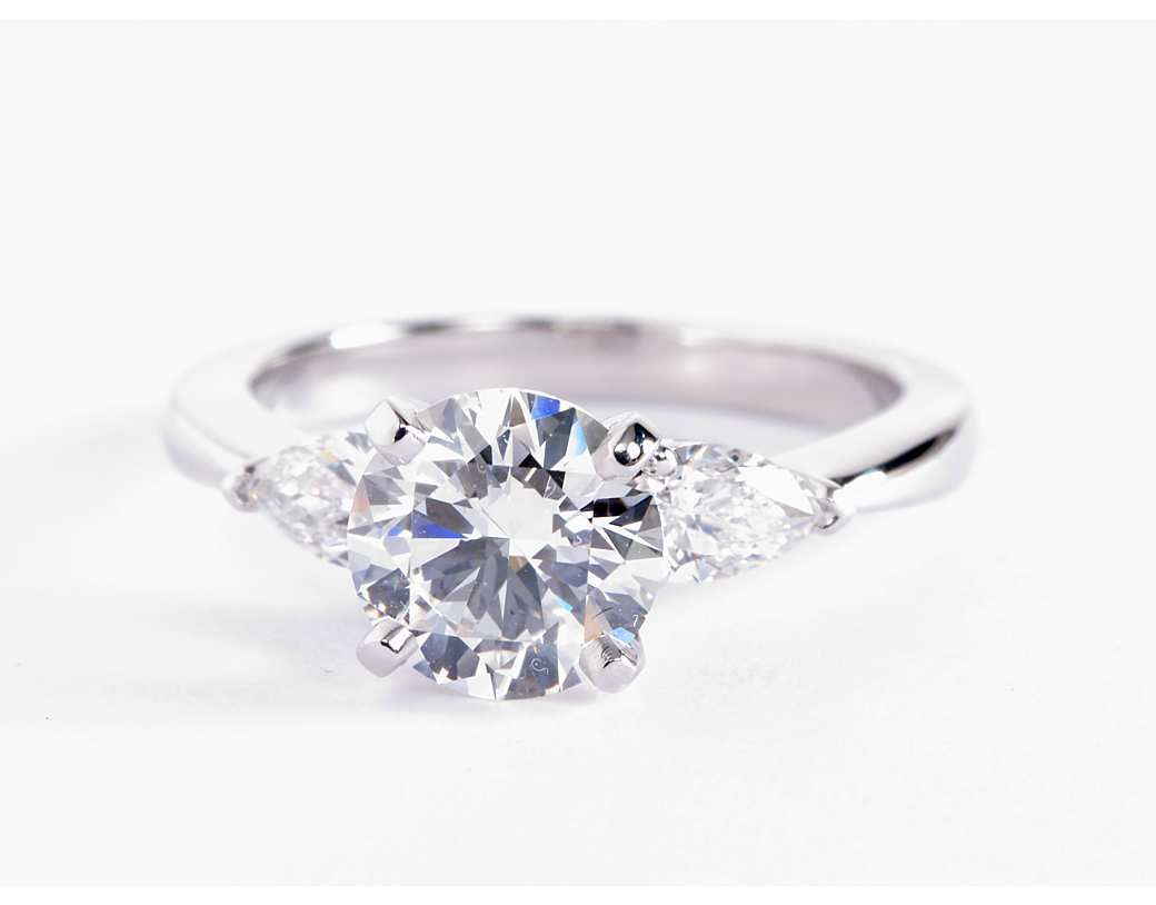 Clic Pear Shaped Diamond Engagement Ring In Platinum For Larger Diamonds 1 2 Ct