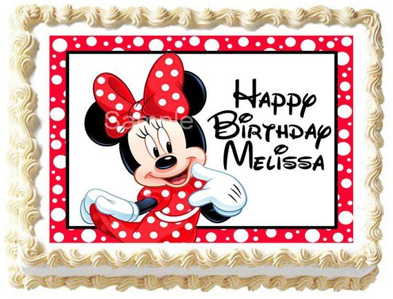 Minnie Mouse Edible Cake Topper Party Image Products Edible Cake