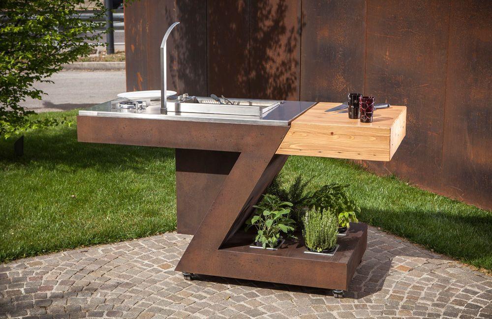 Cuisine d'extérieur / contemporaine / en acier inox / en bois by Massimo Zanchetta TECKMAR SRL