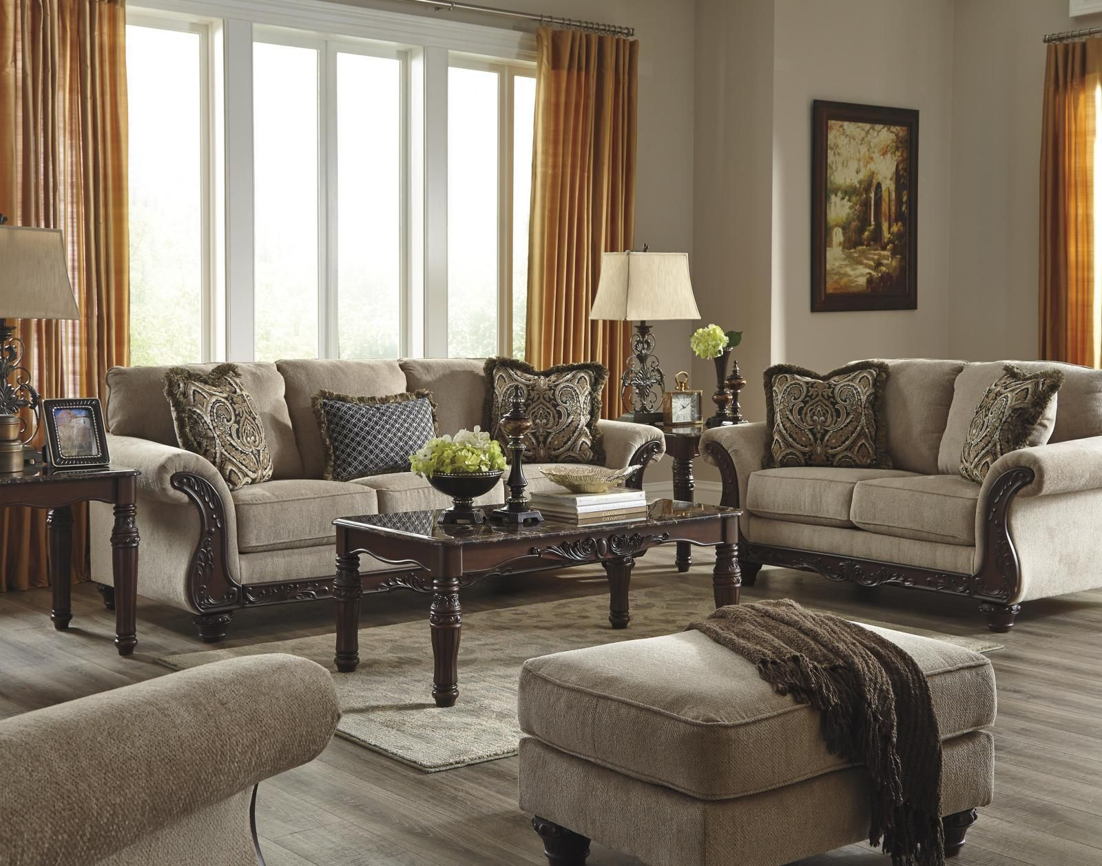 Ashley Laytonsville Living Room Set 3pcs In Pebble Upholstery