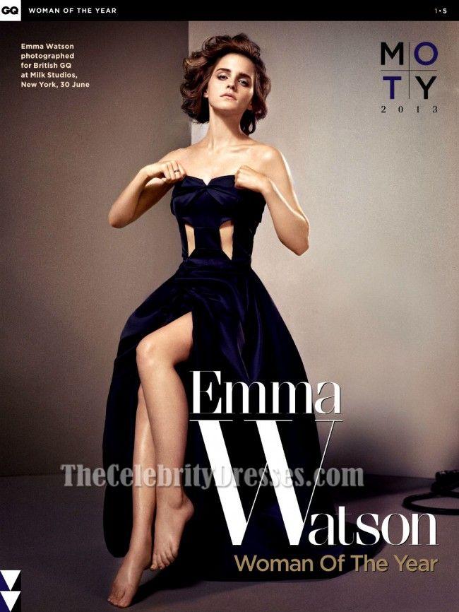 Emma Watson Dark Navy Strapless Cut Out Prom Dress for gq magazine ...
