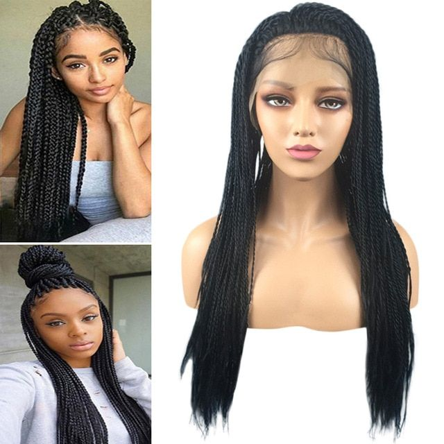 Micro Braid Wedding Hairstyles: Women Synthetic Lace Front Wig 1B Black Micro Baby Hair