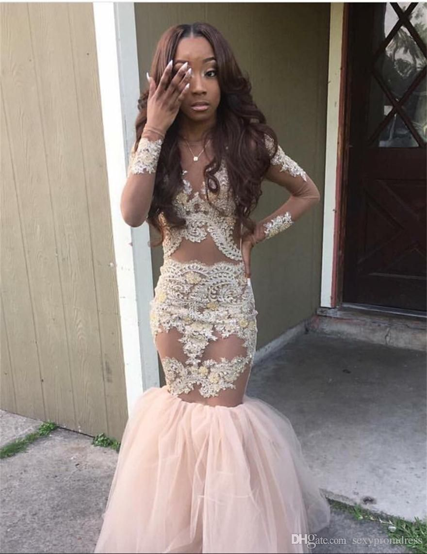 a93d0019f197 2016 Black Girl Prom Dresses Mermaid Style Gold Appliques Long Sleeves  Evening Dress Saudi Arabia Tulle Sexy Girls Pageant Dress Prom Dresses With  Lace ...