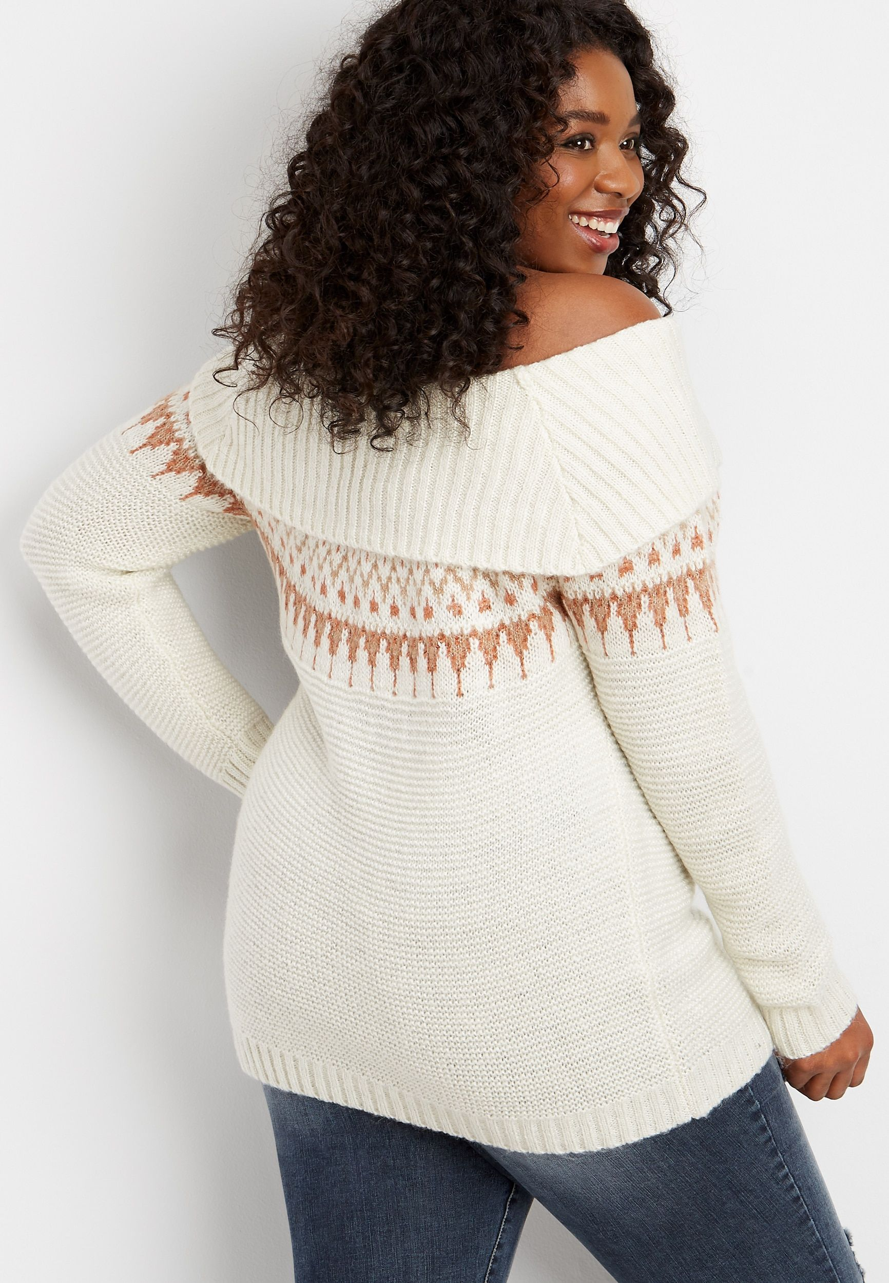 Maurices Plus Size Womens Fair Isle Marilyn Neck Pullover  Beige – Size 1