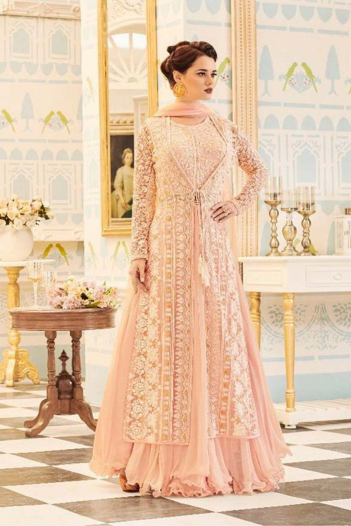 554eb29681 Georgette And Net Anarkali Suit In Peach Colour in 2019 | Flamingo ...
