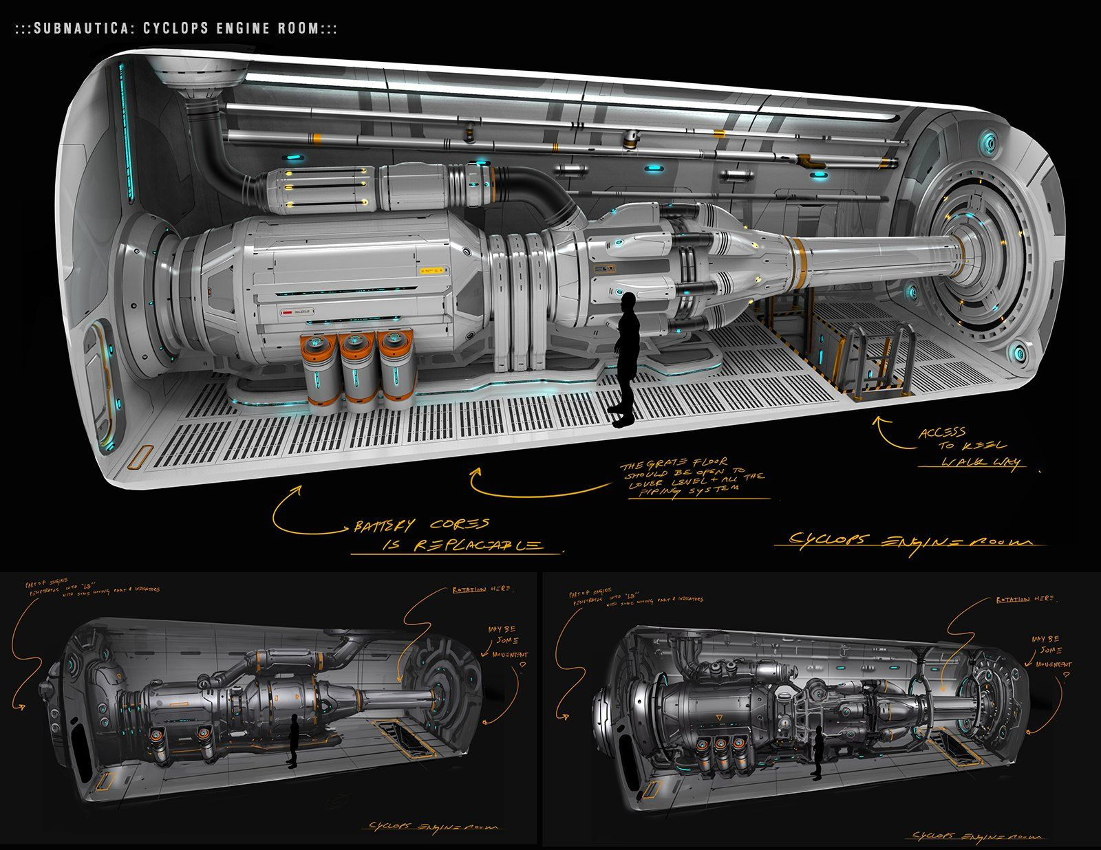 Black themed spaceship conceptual artwork and wallpapers 1 design - A Quick Sketch For A Submarine Design For The Indie Sci Fi Game Subnautica One Of My Favorite Unused Designs From The Game Have A Great Weekend Everyone