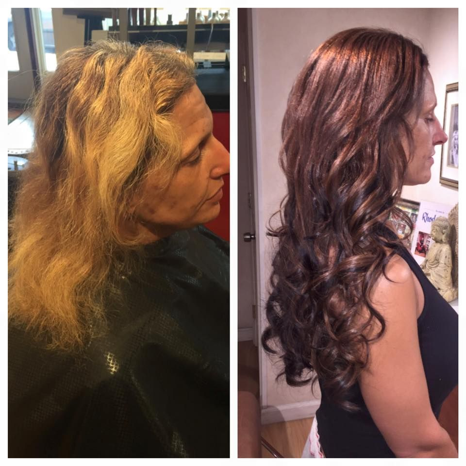 Before And After Aveda Hair Color And Great Lengths Hair Extensions