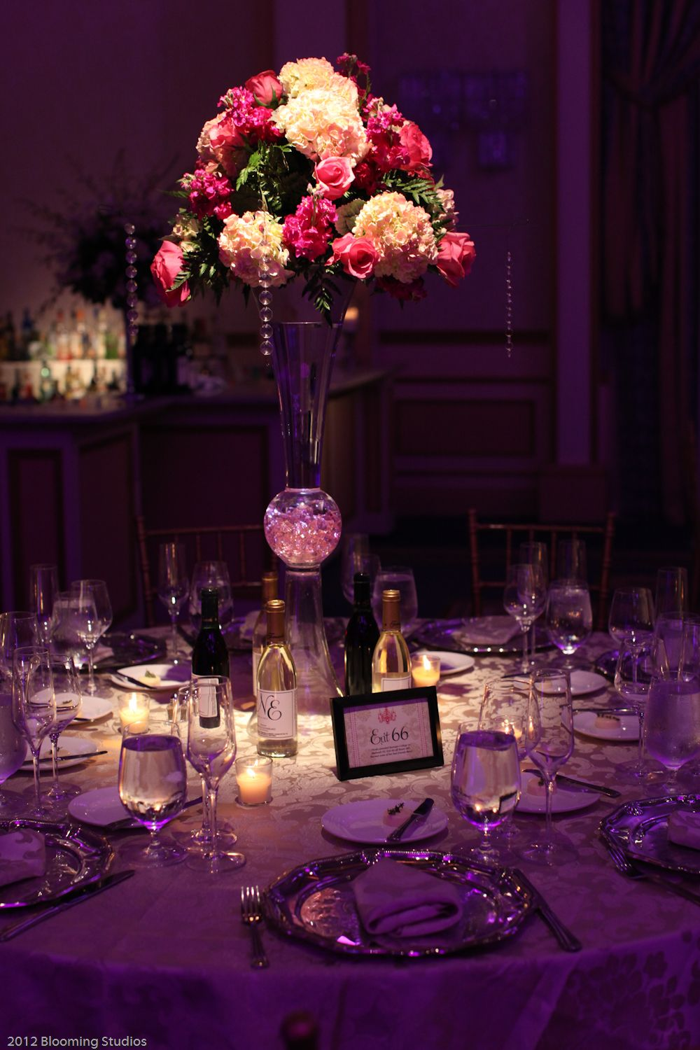 Beautiful Assorted Floral Centerpiece At The Wedding Reception Venue