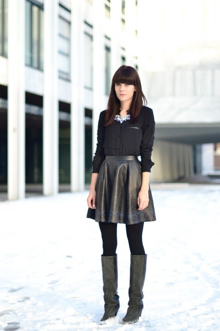 outfit party look leather skirt casual blouse | Winter Chic ...